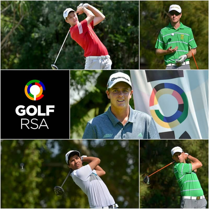 Deon Germishuys from Western Province, KwaZulu-Natal duo Malcolm Mitchell and Clayton Mansfield, Therion Nel from Free State and Nash de Klerk from Ekurhuleni have been named to the 2018/2019 GolfRSA National Squad; credit Ernest Blignault.