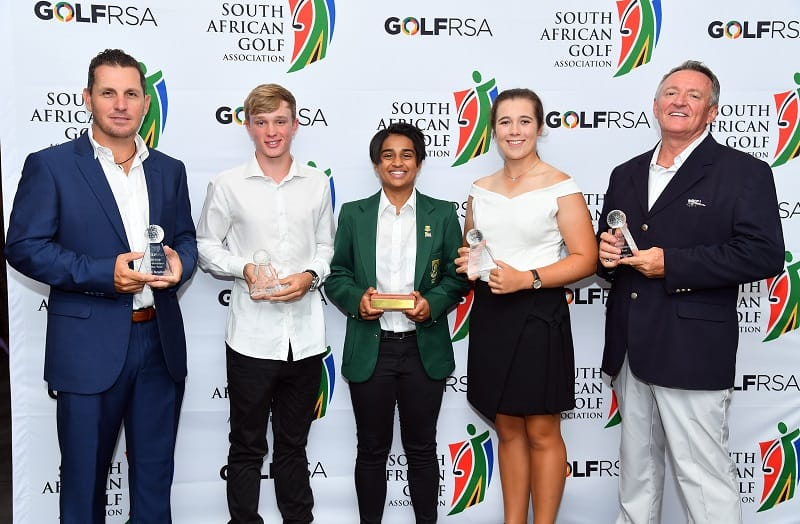 GolfRSA Award winners Derek Scullard, Jayden Schaper, Kajal Mistry, Danielle du Toit and Chris Williams; credit Johan Rynners.