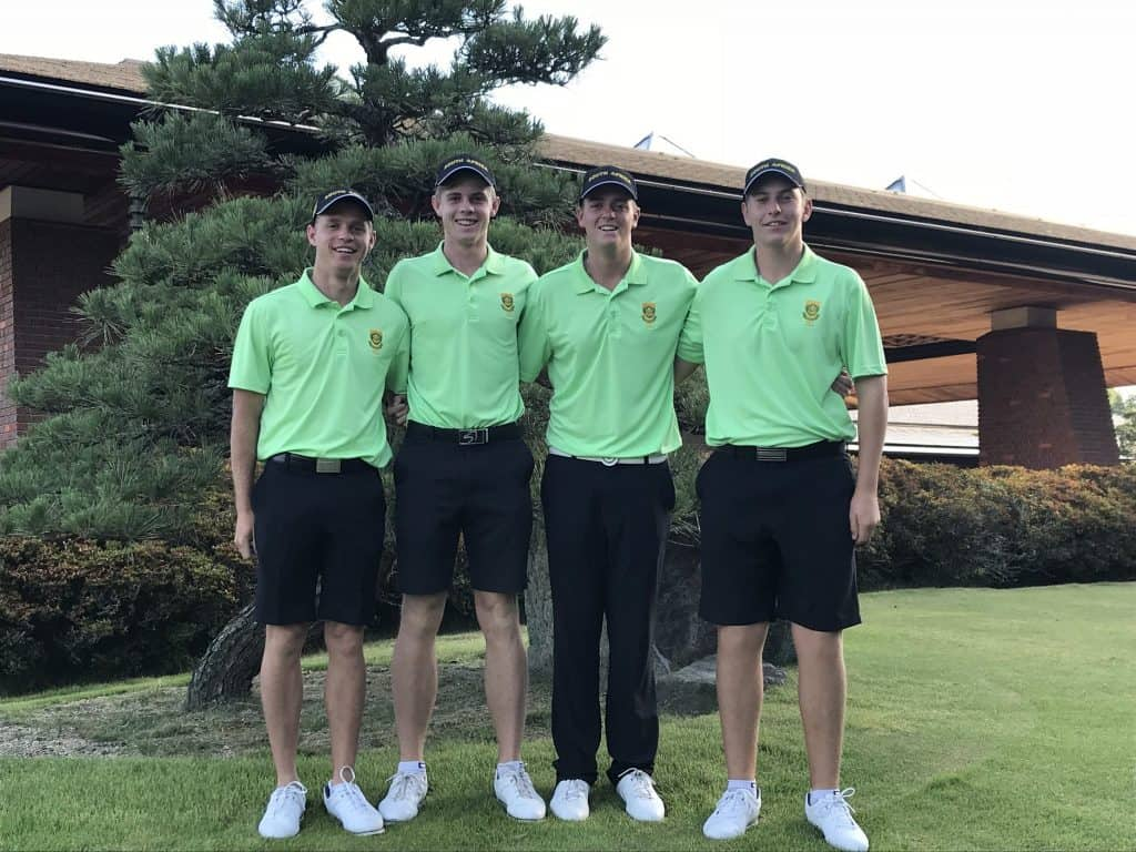 GolfRSA Boys Werner Deyzel, Martin Vorster, Deon Germishuys and Ayden Senger rose to fifth in the third round of the Toyota Junior Golf World Cup, supported by JAL; credit GolfRSA.