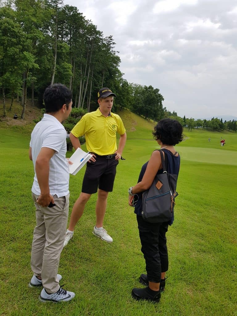 GolfRSA Boys player Martin Vorster is interviewed by local press after shooting a course record 10-under-par 61 in the final round of the Toyota Junior Golf World Cup, supported by JAL; credit GolfRSA.