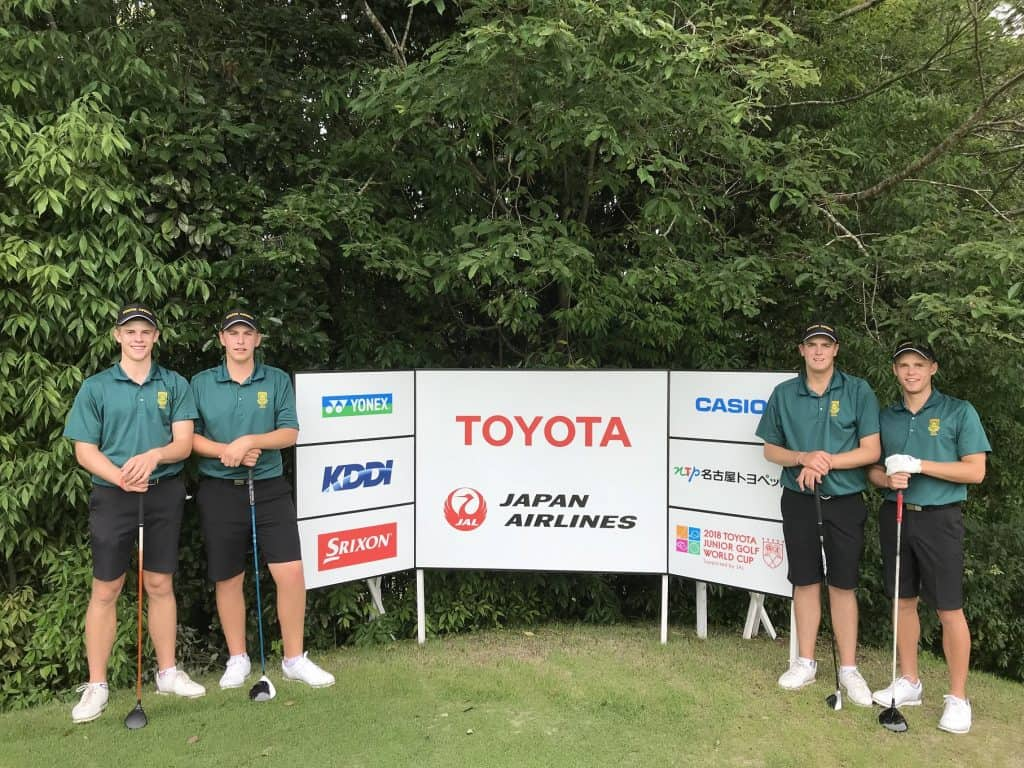 GolfRSA Boys Ayden Senger, Martin Vorster, Deon Germishuys and Werner Deyzel at the Toyota Junior Golf World Cup, supported by JAL, in Japan; credit GolfRSA.