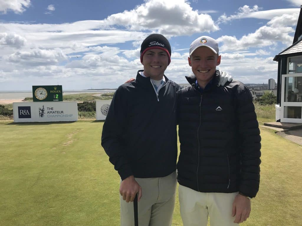 South Africa's Jovan Rebula starts the quarter-finals of the 123rd Amateur Championship on Friday with lucky charm Matt Saulez on the bag at Royal Aberdeen; credit GolfRSA.