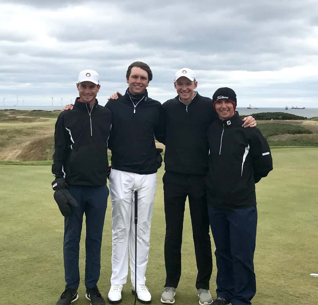 Jovan Rebula (second from left) with his support crew – fellow GolfRSA National Squad players Malcolm Mitchell and Matt Saulez and team manager David Younge – ready for the 36-hole final of the 123rd Amateur Championship at Royal Aberdeen; credit GolfRSA.