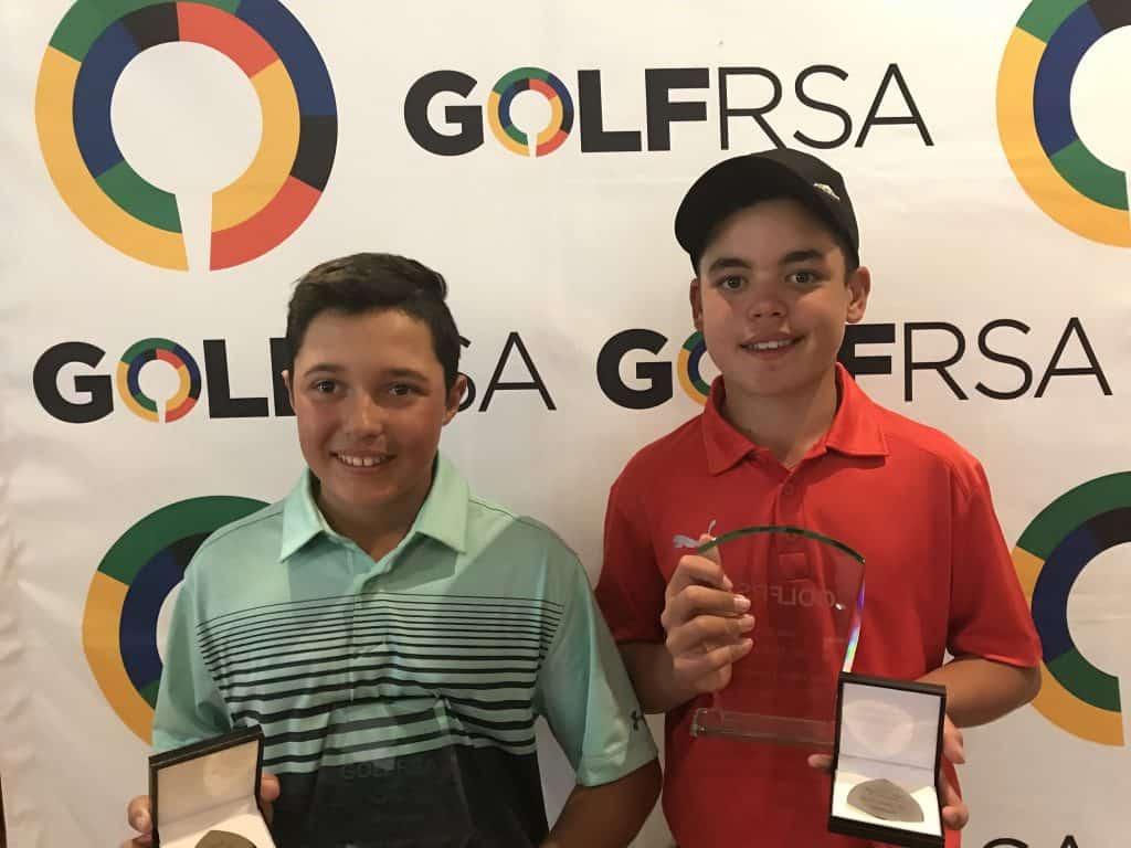 2018 Sun City Under-13 Challenge winner Fabrizio de Abreu (left) and Sun City Under-15 Challenge champion Jaden Deltel; credit GolfRSA.