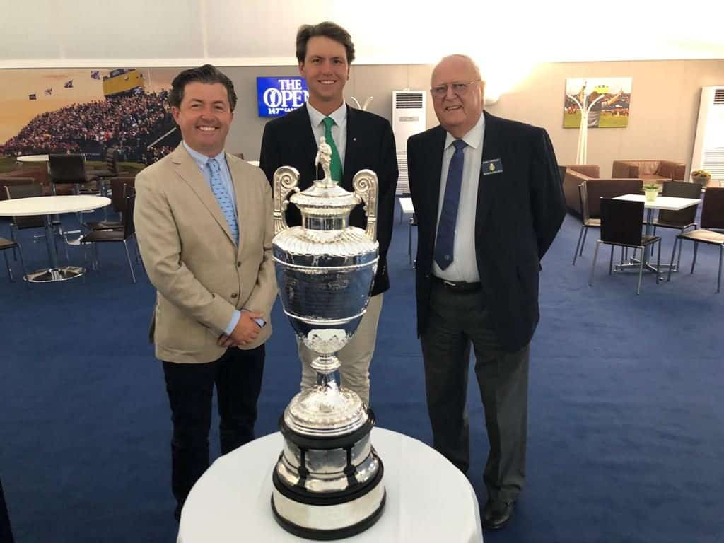 2018 Amateur champion Jovan Rebula with Sir Michael Bonallack (right) and Shane O'Donoghue, host of CNN's Living Golf & a good friend of GolfRSA