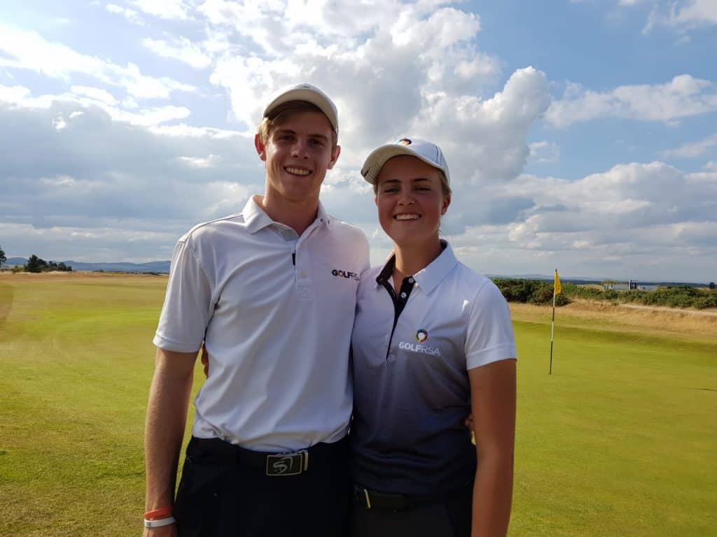 GolfRSA Elite Squad player Kaylah Williams with Junior Open champion & GolfRSA National Squad player Martin Vorster; credit GolfRSA.