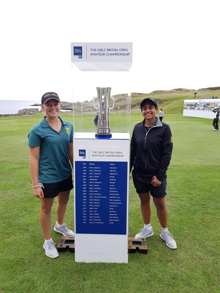 Caitlyn Macnab (left) and Kajal Mistry are primed to start the Girls' British Open Amateur Championship at Ardglass Golf Club in County Down, Ireland today; credit GolfRSA.