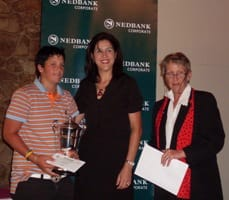 Bonnita Bredenhann with the sponsor and Myrlene Pieterse