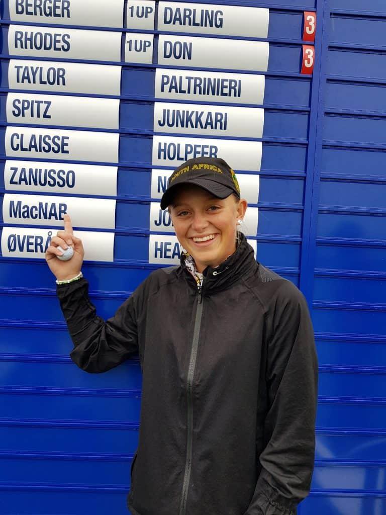 GolfRSA Elite Squad player Caitlyn Macnab at the 90th Girls British Open Amateur Championship at Ardglass Golf Club in Ireland; credit GolfRSA.