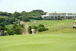 Nicol van Wyk playing his third shot at the 1st playoff hole.