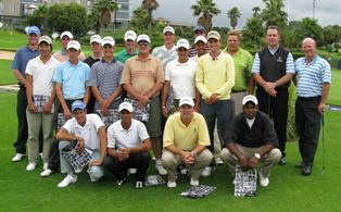 SAGA Squad photographed at the Vodacom World of Golf with two Gary Player Golf Experience staff members on the right, Richard Kaplan and Adrian van Pletzen