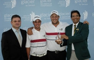 South Africa won the International Team Event, in the picture from the left Andre Krause (of Glacier) Dean O'Riley, Adrian Ford and Enver Hassen (Team Manager and SAGA President)