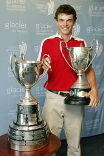 Laurie Canter (England) current SA Amateur Champion tees up with Richie Ramsay and Retief Goosen on Thursday
