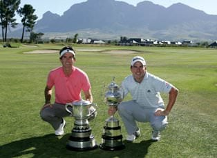 Dylan Frittelli (left) with SA Open Champion Scot Ramsay. Frittelli won the Freddie Tait Cup as leading amateur in SA Open.