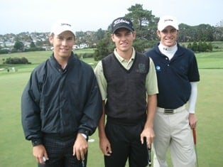 Final three ball in the final round of the New Zealand Stroke Play Championship, from the left Bryden Macpherson (AUS), Nicol van Wyk and Scott Arnold (AUS)