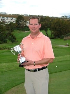 Robbie Oosthuizen holds the John Pickering Trophy after winning the 2009 SA Mid Amateur Stroke Play