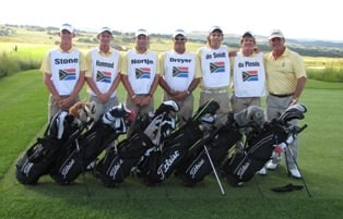 South African Team, in their caddie bibs, although they lost the Test Match against France they did score more points on the final day than the victors.