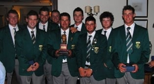 SA Team that beat Scotland. All but one player has been selected to travel to France. From the left JG Claassen, Aaron Russell, Jared Harvey, Danie van Tonder, Ryan Dreyer (holding trophy), Johan Bekker, Dean O'Riley, Riekus Nortje (non travelling reserve) and Tyrone Ryan