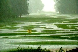 Los Largotos Country Club, awash with water