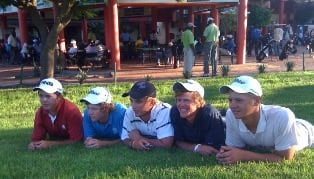 Five of the SA's Zone VI team watch players coming down the 18th hole at Gaborone Golf Club. From the left Allan Versfeld, Riekus Nortje, Steven van Heerden, CJ du Plessis and Danie van Tonder