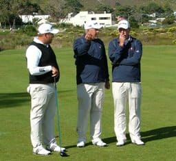 Adrian Ford, Henk Smith and Cameron Johnston all of Western Province in discussion on 15th hole