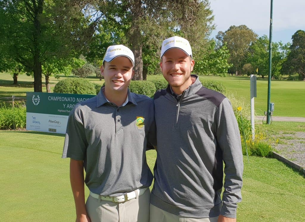 GolfRSA National Squad members Luca Filippi and Therion Nel on day one of the 59th Argentine Amateur Championship at Highlands Country Club in Argentina; credit GolfRSA.