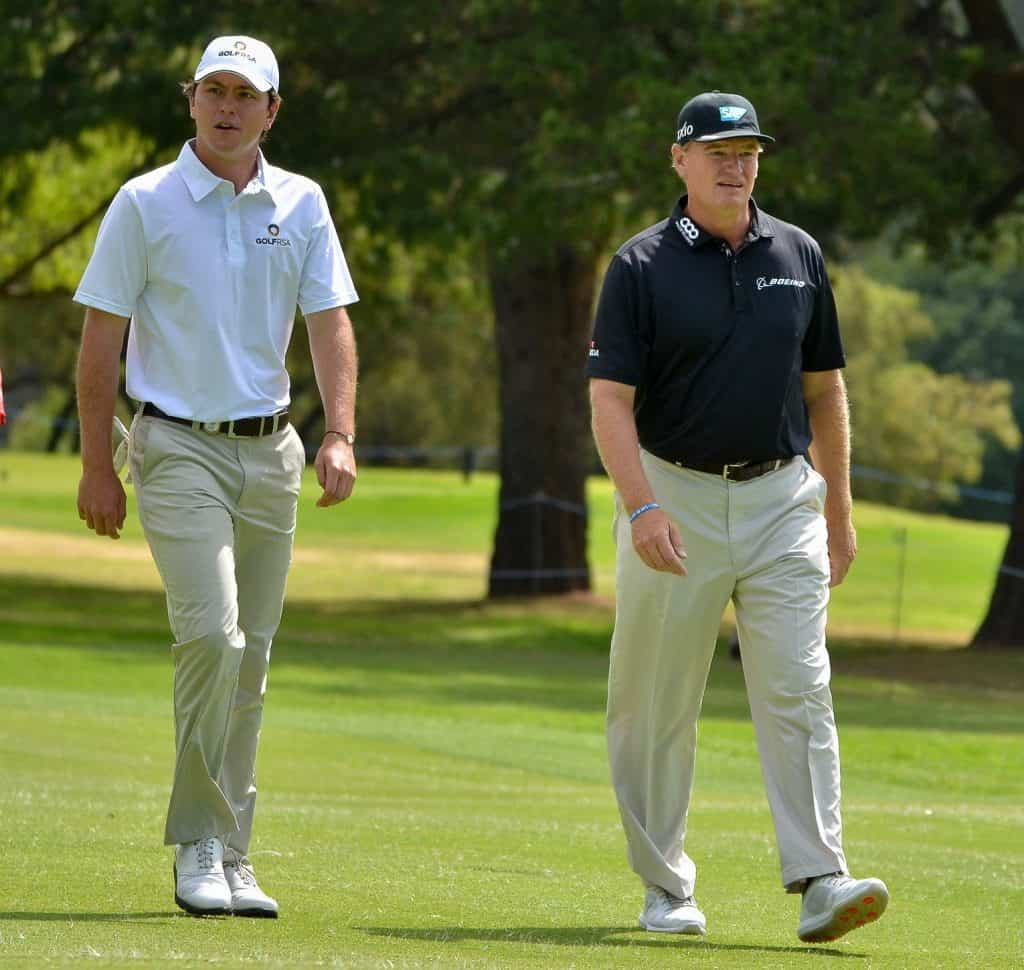 Spurred on by playing partner and uncle Ernie Els, reigning Amateur champion Jovan Rebula tightened his grip on the Freddie Tait Cup challenge on moving day in the 2019 SA Open, hosted by the City of Johannesburg; credit Ernest Blignault.