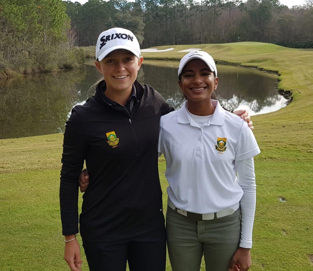 GolfRSA Elite Squad team-mates Kaiyuree Moodley and Caitlyn Macnab at the Annika Invitational USA, presented by Rolex, at the World Golf Village in Florida; credit GolfRSA.