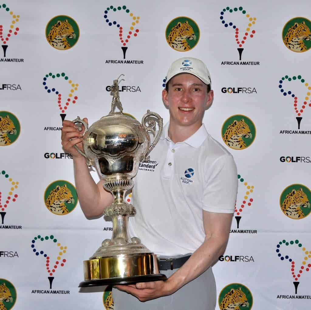2019 African Amateur Stroke Play Championship winner Euan Walker from Scotland; credit Ernest Blignault.