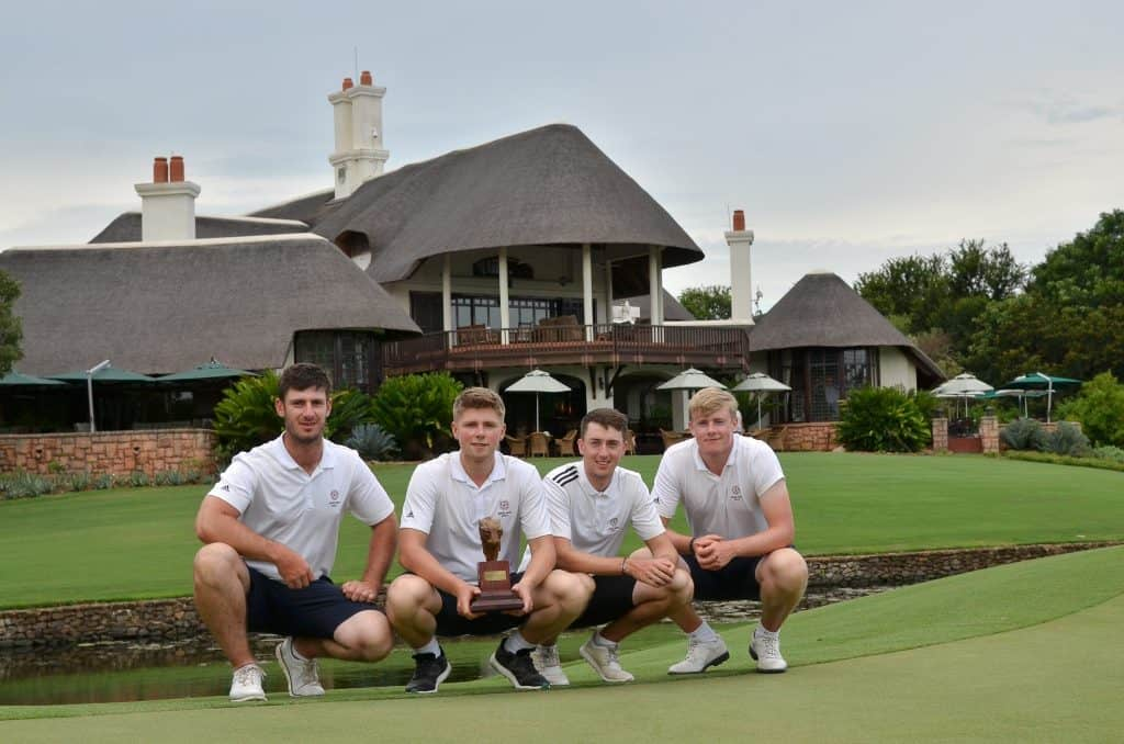Victorious England edged out the GolfRSA Juniors by one shot on six-under 642 to win the Team Competition in the African Amateur Stroke Play Championship at Leopard Creek; credit Ernest Blignault. Left to right: David Langley, Joe Long, Billy McKenzie and Tom Plumb.