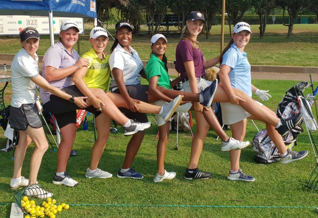 Learning, improving, building camaraderie and having some fun during the GolfRSA Elite Squad Camp at Bryanston Country Club. From left to right: Coach Costanza Trussoni, Kiera Floyd and Caitlyn Macnab from Ekurhuleni, Zethu Myeki and Kaiyuree Moodley from Gauteng and Western Province pair Kaylah Williams and Jordan Rothman; credit GolfRSA.