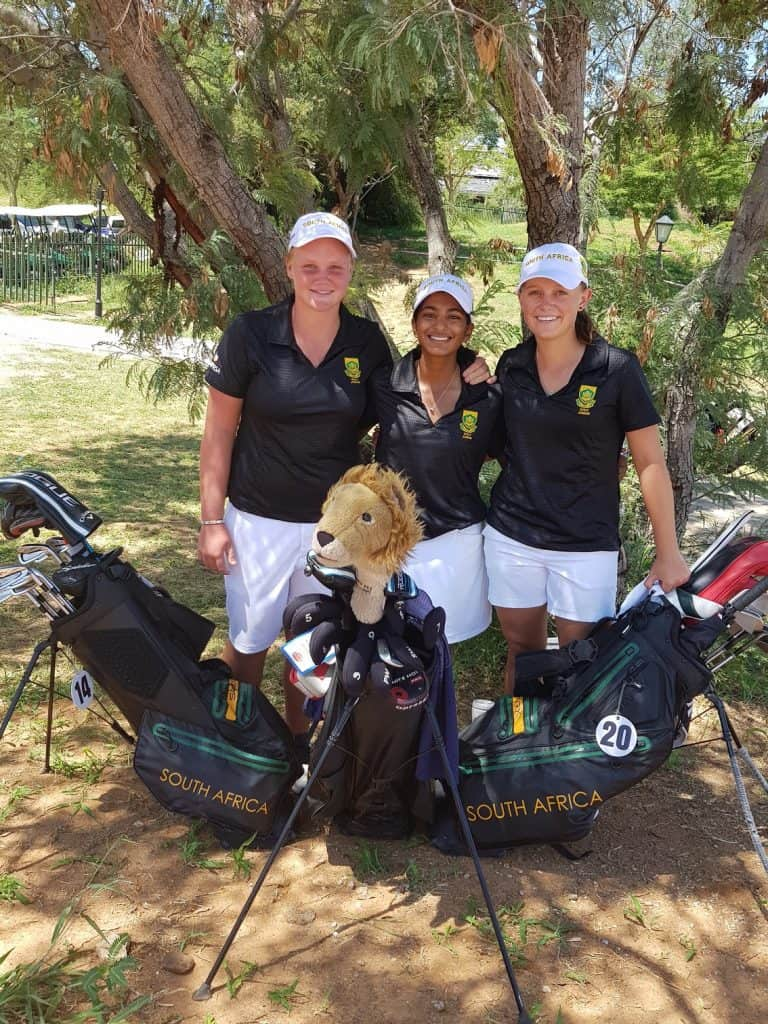 The GolfRSA Girls team kept their title defence in the All-Africa Junior Golf Challenge on track with rounds of 139 and 138 and lead by 66 shots at Phakalane Golf Estate Hotel Resort in Botswana; credit GolfRSA.