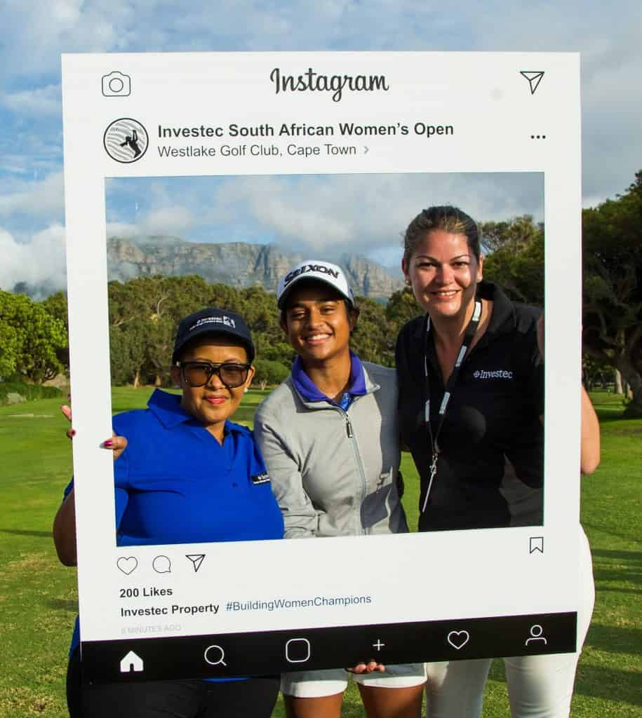 3.	SA Minister of Sport and Recreation Tokozile Xasa with 18-year-old GolfRSA Elite Squad player and Ernie Els and Fancourt Foundation member Kajal Mistry (centre) and Candice Buitendach from Investec ahead of the first round of the Investec South African Women's Open at Westlake Golf Club; credit Tristan Jones / LET.