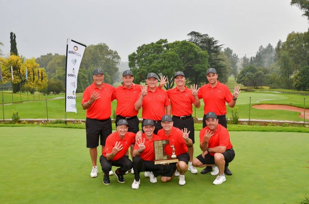Central Gauteng clinched their fourth successive victory in the 32nd South African Senior A-Division Inter-Provincial Tournament at Wingate Park Country Club; credit Ernest Blignault. Back, left to right: Derek Reyneke, Greg Gleeson, Steve Williams, Craig Kamps, team manager Andy Truluck. Front, left to right: Jock Wellington, Schalk Naude, Stephen Johnston and Brian Chernotsky.