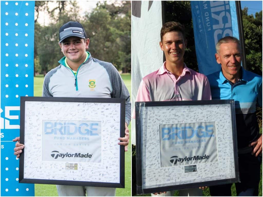 2019 Bridge Fund Managers Junior Series Regional Finals winners .Casey Jarvis from Ekurhuleni & Tyran Snyders from Western Province.