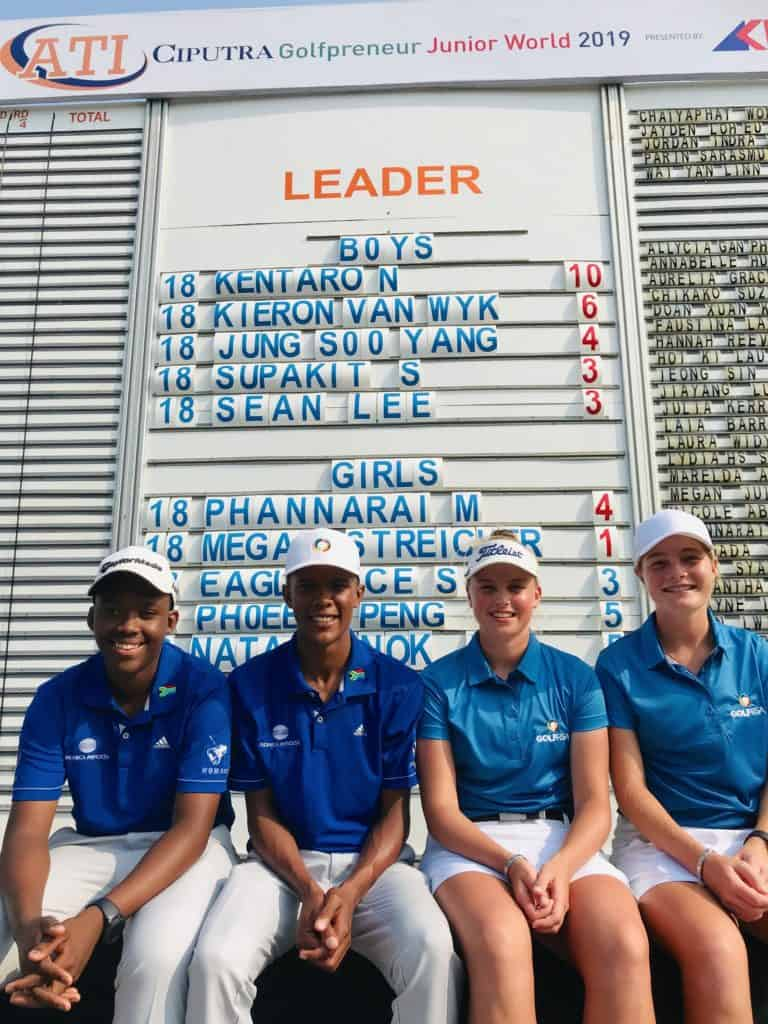 Team GolfRSA after round two of the ATI Ciputra Golfpreneur Junior World 2019, presented by AKI & supported by the Junior Golf Tour of Asia at the Damai Indah Golf & Country Club in Indonesia; credit GolfRSA.
