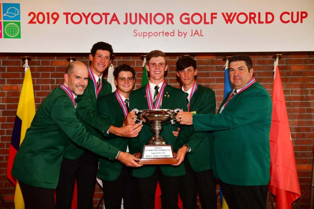 TOYOTA, JAPAN - JUNE 21:  Winner South Africa poses with the Toyota Cup after winning the Boys competition during the award ceremony following the final round of the Toyota Junior Golf World Cup at Chukyo Golf Club Ishino Course on June 21, 2019 in Toyota, Aichi, Japan. (Photo by Atsushi Tomura/Getty Images for Toyota Junior Golf World Cup)