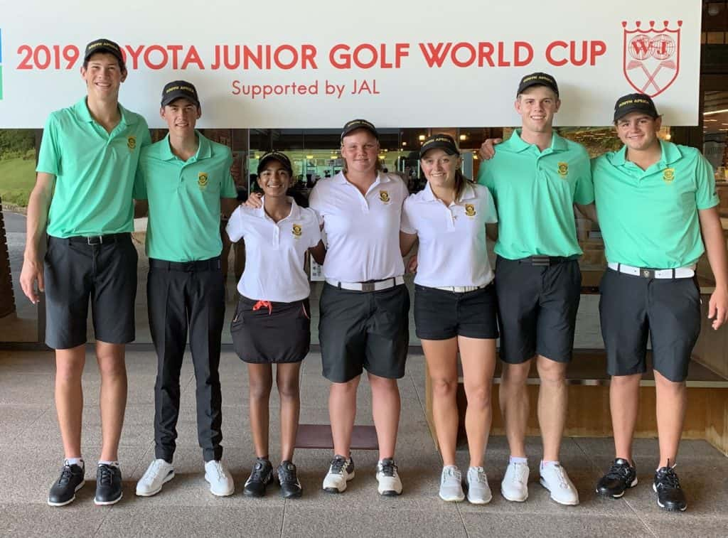 The GolfRSA Boys Team combined for a superb 14-under-par 199 total to take the midway lead in the 27th Toyota Junior Golf World Cup, supported by JAL, while the GolfRSA Girls also improved on day two at the Chukyo Course in Japan; credit GolfRSA.