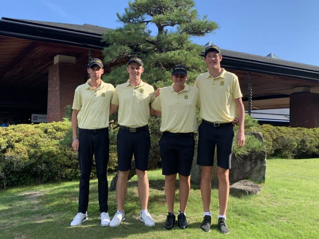 The GolfRSA Boys Team opened with a five-under 204 to finish within striking distance of the lead in the first round of the 27th Toyota Junior Golf World Cup, supported by JAL, in Japan; credit GolfRSA.