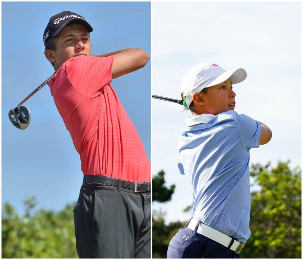 Christiaan Maas led the first round of the Dimension Data Junior Open, while Fabrizio du Abreu took pole position in the Under-15 Challenge at Fancourt; credit Ernest Blignault.