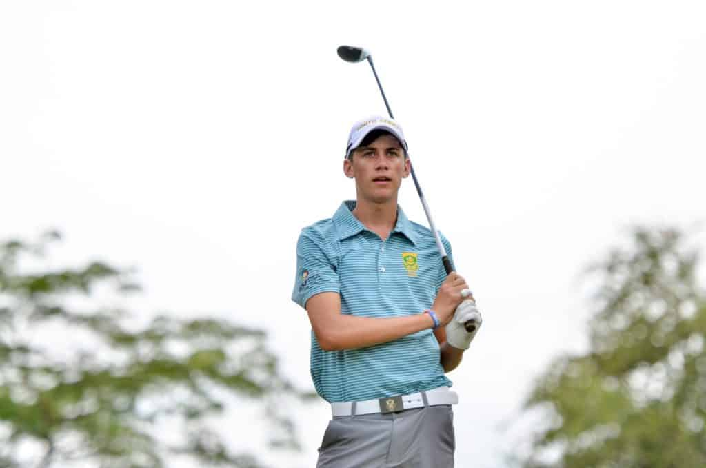 Sam Simpson from Western Province surged to the top in the Individual Competition with a flawless eight-under-par 63 in the third round of the Toyota Junior Golf World Cup, supported by JAL, at the Chukyo Golf Club in Japan; credit Ernest Blignault