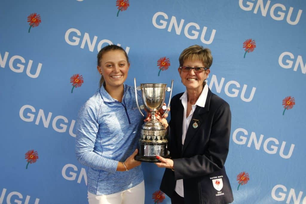 Macnab extends purple patch at Centurion  PRETORIA, 9 July 2019 – In-form Caitlyn Macnab made it a trio of titles in as many appearances with another impressive display of front-running in the Gauteng North Women's Open on Sunday. The 17-year-old Serengeti golfer won the Individual title as she guided Ekurhuleni to victory in the WGSA 72-Hole Team Championship in June and claimed the Nomads SA Girls Championship at Orkney Golf Club at the start of July. Macnab closed with a four-under-par 68 at Centurion Country Club to win by three shots from Gauteng's Symone Henriques on one-over 217. Macnab carded rounds of 76 and 71 to start the final round three shots behind fellow GolfRSA Elite Squad member Kiera Floyd. She turned one-under after a birdie at seventh and edged ahead of Floyd with a brace of birdies at 11 and 12. The Ekurhuleni golfer gave back a shot to the field at 13, but rallied with a birdie-birdie finish to earn her fifth amateur victory – a win that strengthened her position at the top of the Open Amateur rankings. Henriques has also been enjoying an impressive recent run of form and her closing 70 for second on 220 was her third successive top three finish after joint second in the Limpopo Championship and third in the Nomads SA Girls. Nadia van der Westhuizen carded 72 to finish third on 223 and Floyd was a further stroke back after a final round 77. Meanwhile Nelia Swanepoel posted rounds of 89, 88 and 92 to lift the B-Division title on 269. She finished two shots ahead of Rene Matthee (91, 92 and 88). Macnab and Swanepoel were not the only winners on the day. Centurion local Ronel van Wyk won the lucky draw prize – a trip to Reunion Island! Thanks to a partnership between Gauteng North Golf Union, Reunion Island Golf Association and Reunion Island Tourism Board, Van Wyk bagged a trip for one person that included flights, transfers, accommodation and an excursion underwritten by partners Air Austral, Boucan Canot Hotel and Reunitours.