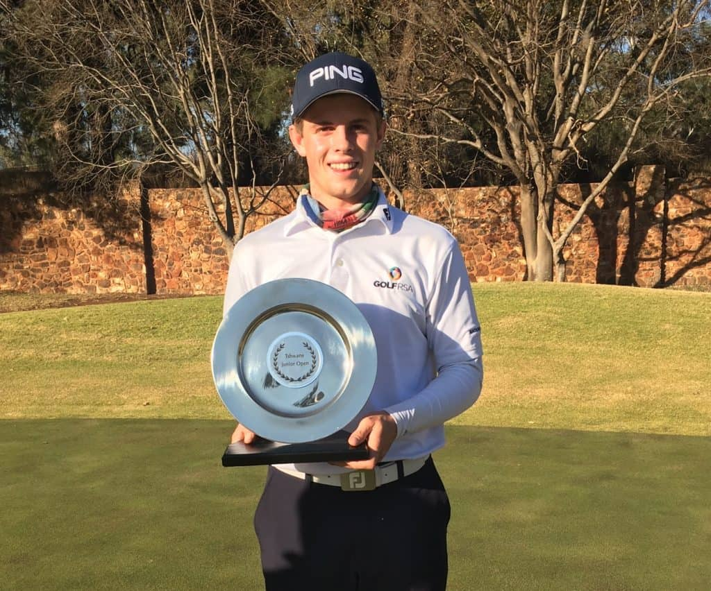 GolfRSA National Squad member Martin Vorster won the Tshwane Junior Open on the Sunshine Tour Junior Series in a play-off at Irene Country Club; credit Hardus van der Merwe.