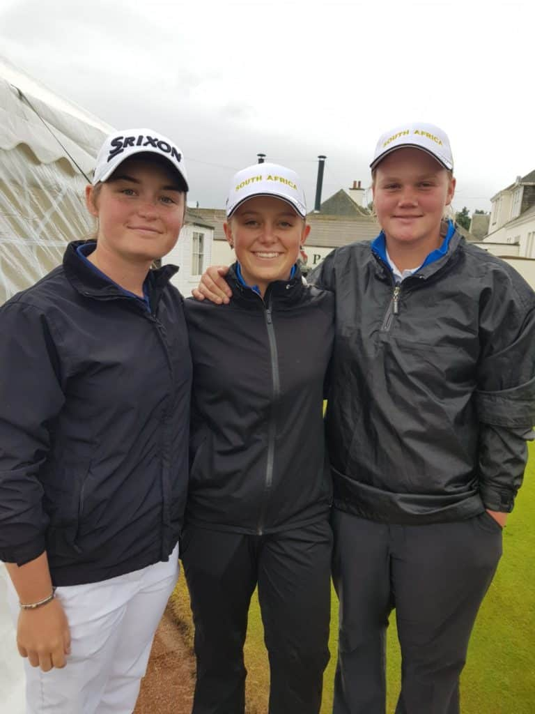 GolfRSA Elite Squad members Jordan Rothman, Caitlyn Macnab & Kiera Floyd made a great start in the R&A Girls Amateur Championship at Panmure Golf Club; credit GolfRSA.