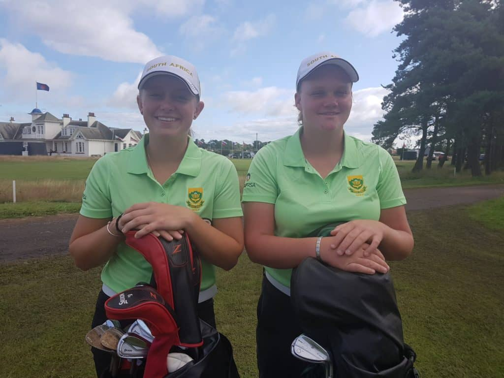 GolfRSA Elite Squad members Caitlyn Macnab and Kiera Floyd at the R&A Girls Amateur Championship at Panmure Golf Club in Scotland; credit GolfRSA.