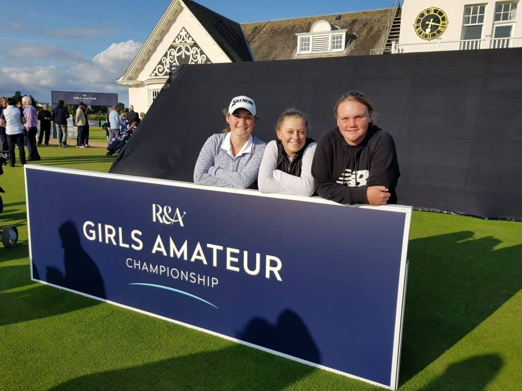 GolfRSA Elite Squad members Jordan Rothman, Caitlyn Macnab and Kiera Floyd reached the R&A Girls Amateur Championship match play stage at Panmure Golf Club; credit GolfRSA.