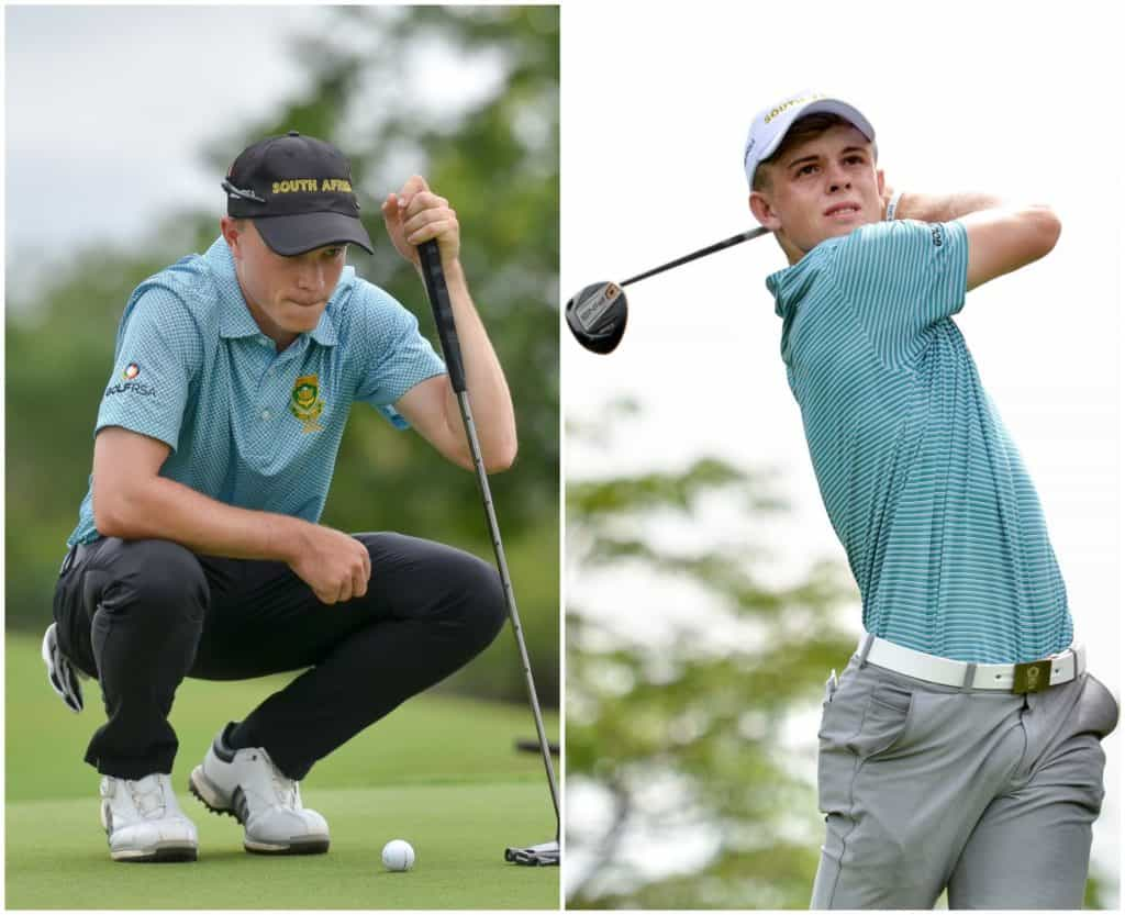 GolfRSA National Squad members Jayden Schaper and Martin Vorster led South Africa's title defence on day one of the All Africa Team Championship at Mont Noisy Golf Club in Mauritius; credit Ernest Blignault.