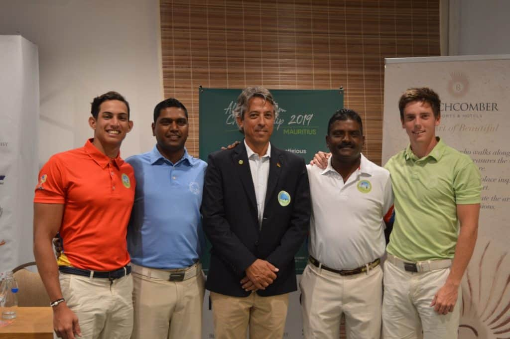 Mauritius Golf Federation President Christophe Curé with some of the competitors of the All Africa Golf Team Championship. Credit Beyond Communications.