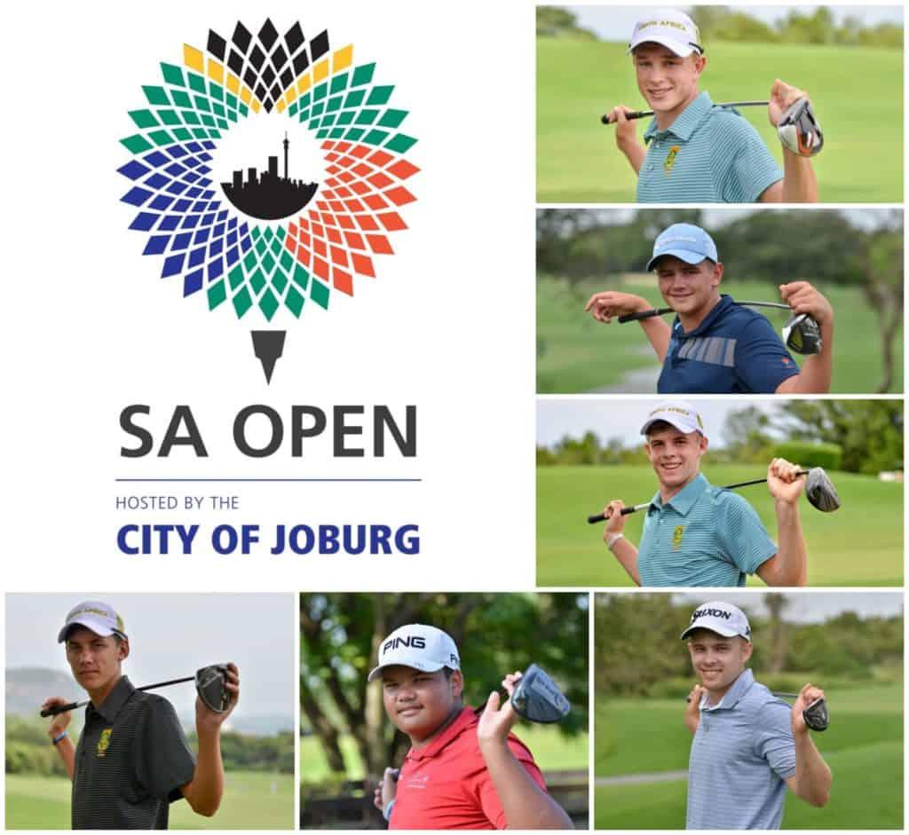 GolfRSA National Squad members Jayden Schaper, Casey Jarvis, Martin Vorster, Sam Simpson, Jordan Duminy and Kyle de Beer will compete in the 2020 South African Open at Randpark Golf Club; credit Ernest Blignault