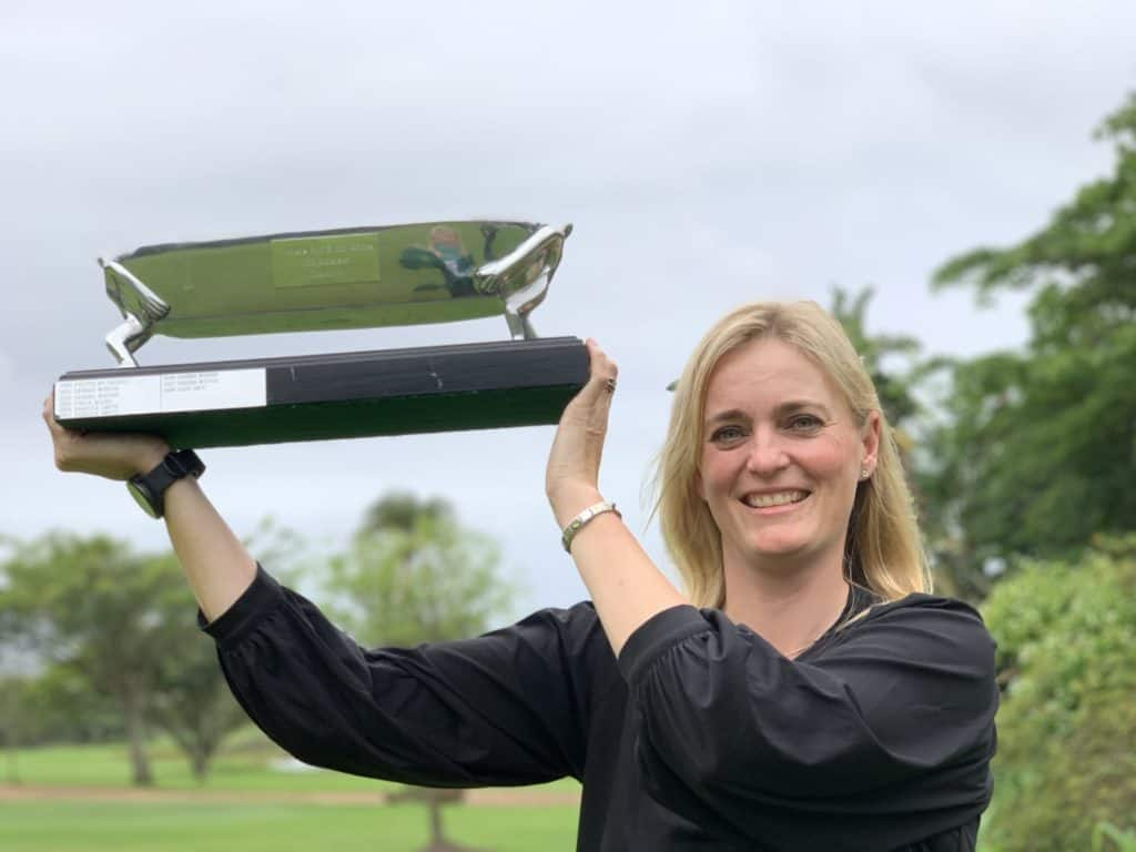Vicki Traut from Western Province won her first SA Women's Mid-Amateur Championship with an eight-shot victory in the 2019 at Selborne Golf Estate, Hotel and Spa; credit GolfRSA.